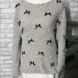 Lauren Conrad Chenille Bow Sweater Gray Large